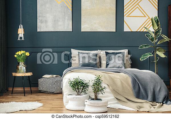 Big bed in bedroom interior - csp59512162