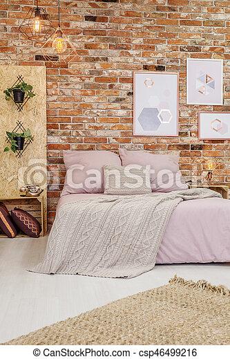 Big bed in bedroom - csp46499216