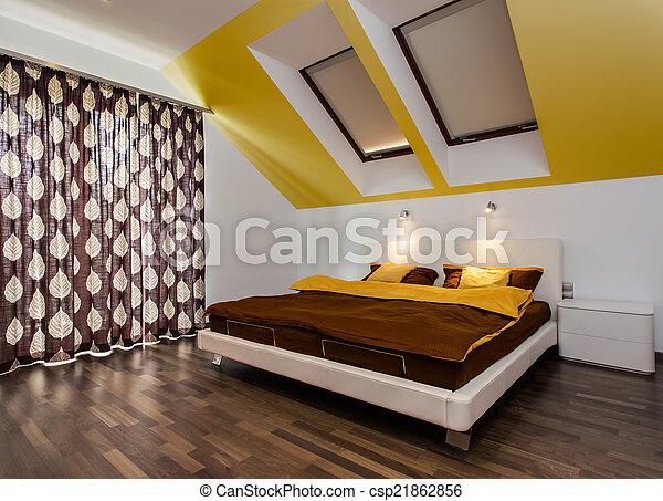 Big bed in modern bedroom - csp21862856