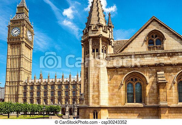 Big Ben and Houses of Parliament - London, UK - csp30243352