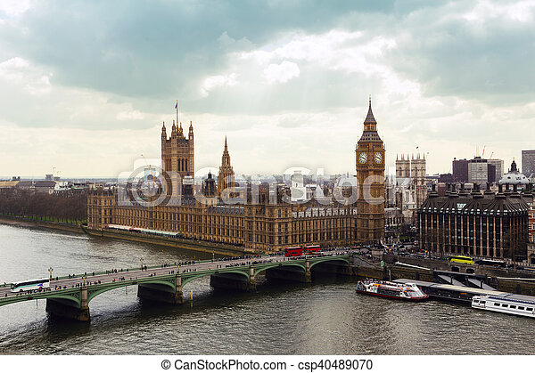 Big Ben and Houses of Parliament in London - csp40489070