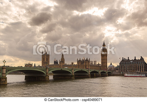 Big Ben and Houses of Parliament in London - csp40489071
