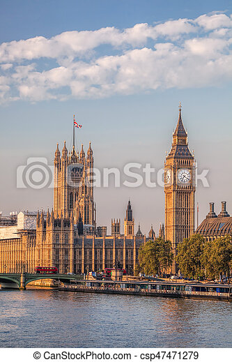 Big Ben and Houses of Parliament in London, England, UK - csp47471279