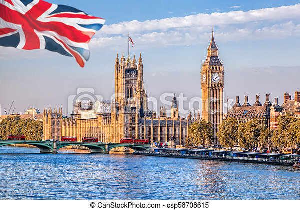 Big Ben and Houses of Parliament in London, UK - csp58708615
