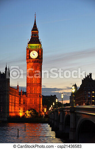 Big Ben and Houses of parliament in London  - csp21436583