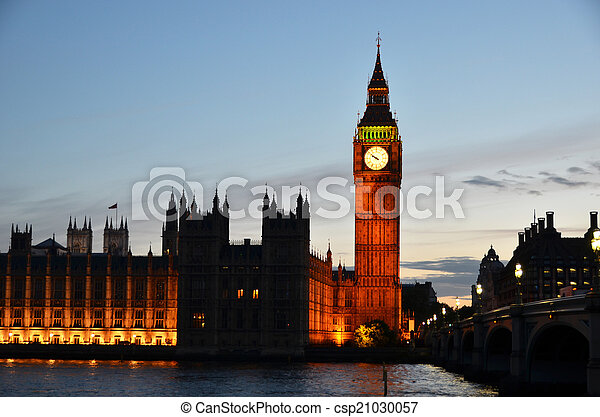 Big Ben and Houses of parliament in London - csp21030057