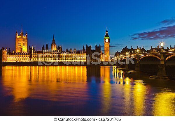 Big Ben and Houses of Parliament in London - csp7201785