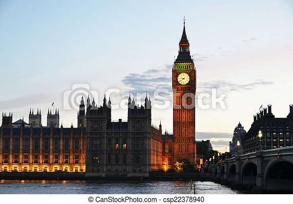 Big Ben and Houses of parliament in London  - csp22378940
