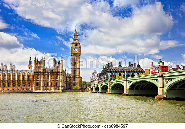 Big Ben and Houses of Parliament, London - csp6984597