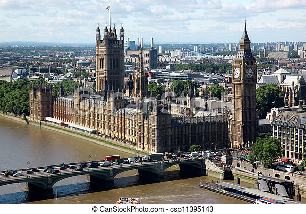 Big Ben and the House of Parliament in London, UK - csp11395143