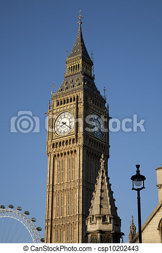 Big Ben and the London Eye; London, England, UK - csp10202443
