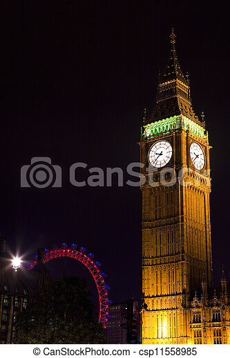 Big Ben and the London Eye - csp11558985