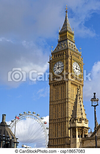 Big Ben and the London Eye - csp18657083
