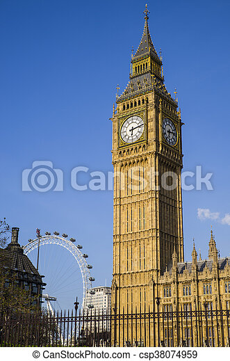 Big Ben and the London Eye - csp38074959
