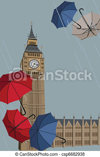 Big Ben and Umbrellas  - csp6682938