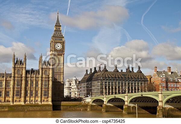 Big Ben and Westminster bridge - csp4735425