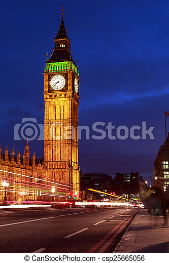 Big Ben at night, London - csp25665056