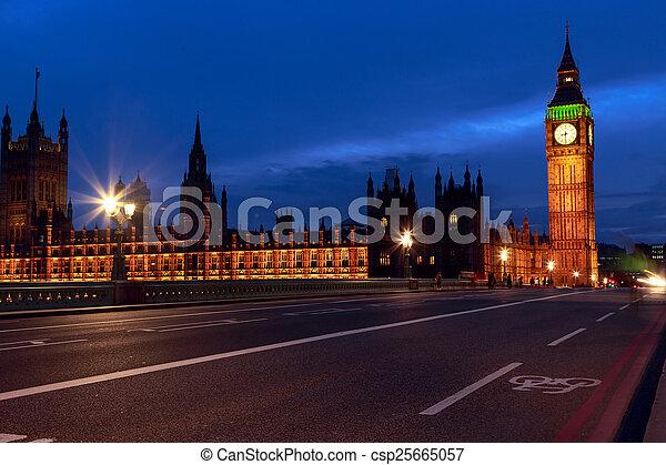 Big Ben at night, London - csp25665057