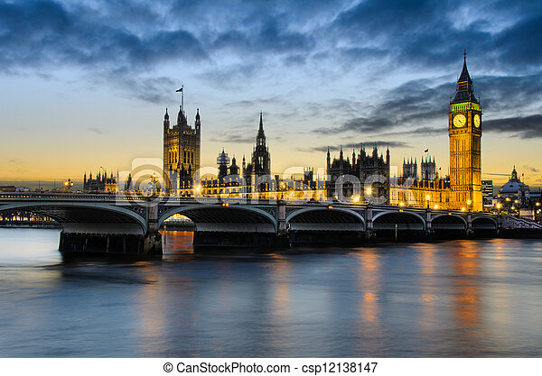 Big Ben at sunset, London, UK - csp12138147