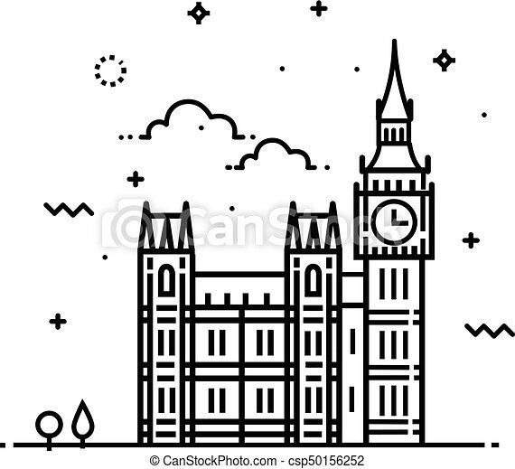 Big ben clock icon. sign design - csp50156252