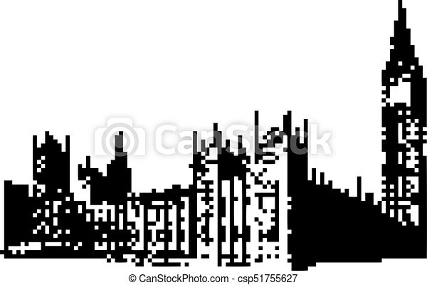 Big Ben Clock Tower And Parliament House At City Of Westminster London England Uk 8 Bit Minimalistic Pixel Art Vector Illustration Isolated On White