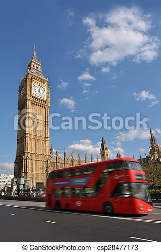 Big Ben clock tower on Elizabeth Tower of Palace of Westminster London UK - csp28477173