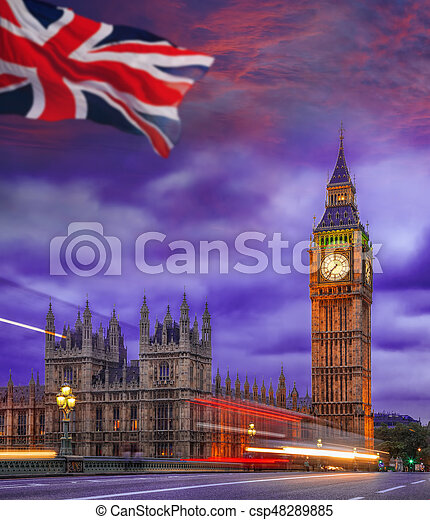 Big Ben during colorful evening in London, England, UK - csp48289885