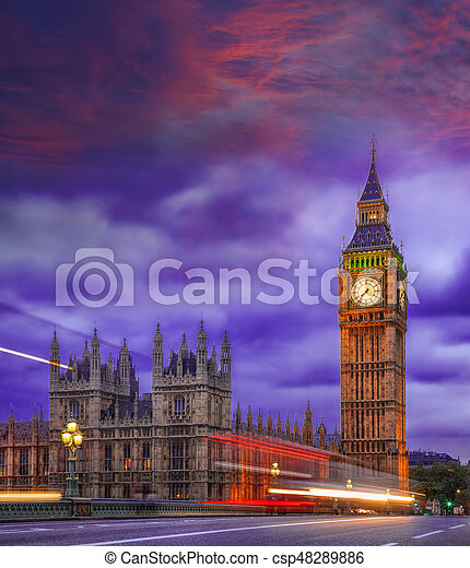 Big Ben during colorful evening in London, England, UK - csp48289886