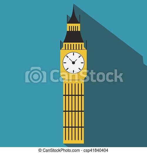 Big Ben flat vector long shadow - csp41840404