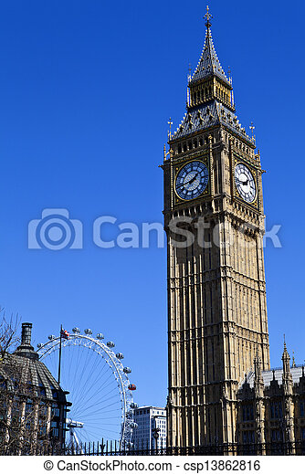 Big Ben (Houses of Parliament) and the London Eye - csp13862816