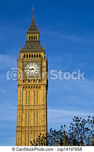Big Ben (Houses of Parliament) in London - csp14197658