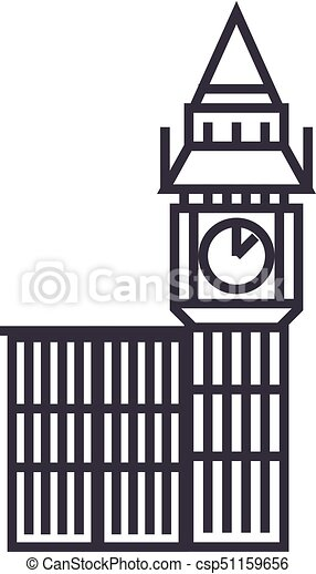 big ben london vector line icon sign illustration on clipart rh canstockphoto com big ben vector silhouette big ben vector illustration