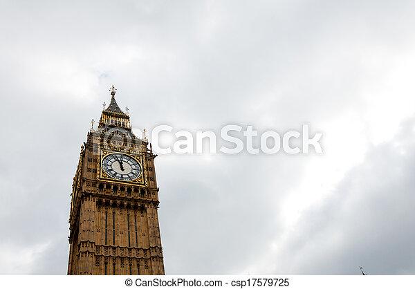 Big Ben, or St Stephen's Tower, in Westminster, London, UK - csp17579725