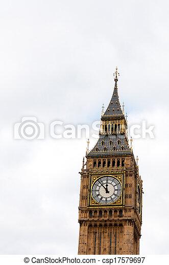 Big Ben, or St Stephen's Tower, in Westminster, London, UK - csp17579697