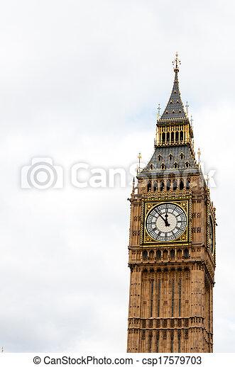 Big Ben, or St Stephen's Tower, in Westminster, London, UK - csp17579703