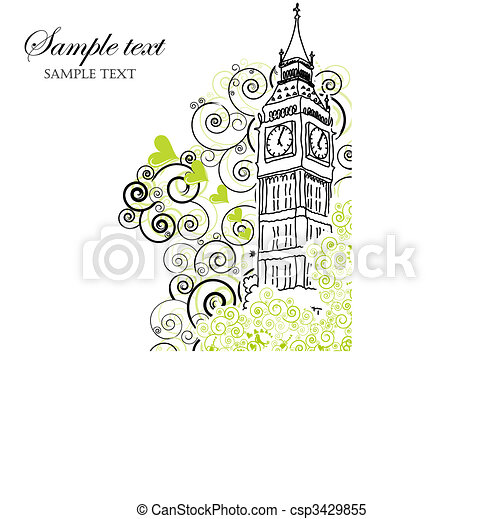 Big Ben Poster, Cover or Greeting card - csp3429855