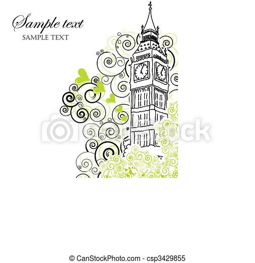 Big Ben Poster, Cover or Greeting card - csp3429855