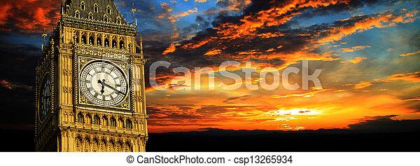 big ben, sonnenuntergang, panorama, london - csp13265934