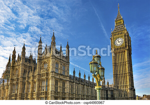 Big Ben Tower Houses of Parliament Westminster London England - csp44993967