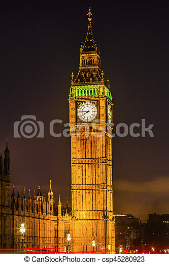 Big Ben Tower Nght Houses of Parliament Westminster London England - csp45280923