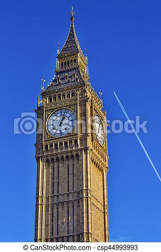 Big Ben Tower Plane Houses of Parliament Westminster London England - csp44993993