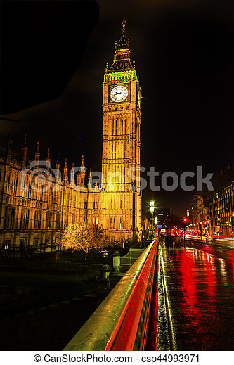 Big Ben Tower Westminster Bridge Nght Houses of Parliament Westminster London England - csp44993971