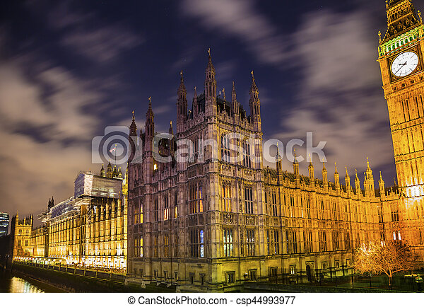 Big Ben Tower Westminster Bridge Nght Houses of Parliament Westminster London England - csp44993977