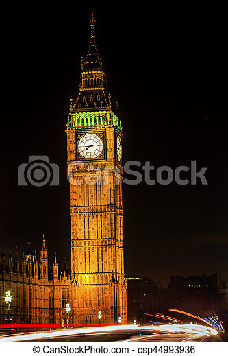 Big Ben Tower Westminster Bridge Nght Houses of Parliament Westminster London England - csp44993936