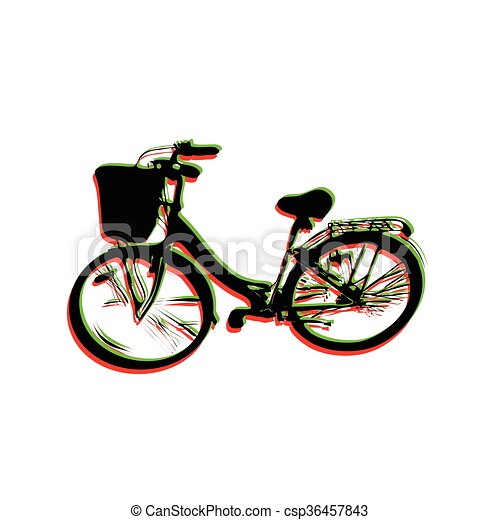 big bicycle with a basket - csp36457843