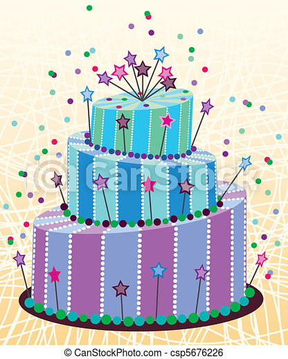 Clip Art Vector of big birthday cake vector big birthday cake