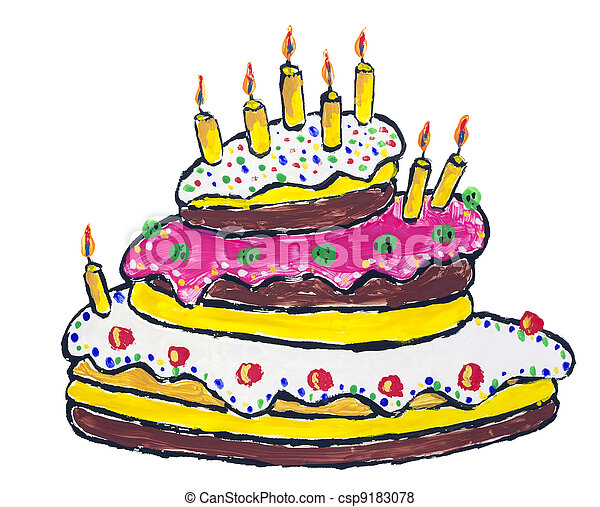Big Birthday Cake With Burning Candles Abstract Isolated Children