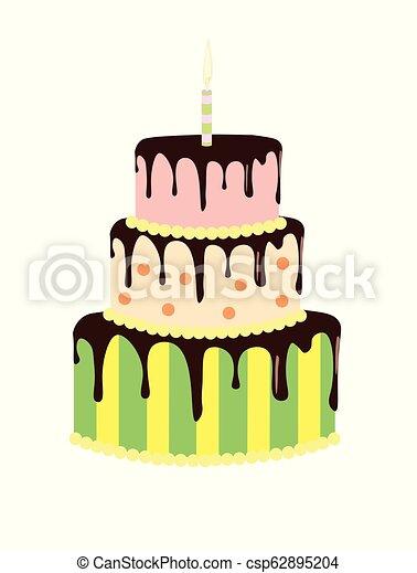 Wondrous Big Birthday Cake Vector Illustration Funny Birthday Cards Online Alyptdamsfinfo