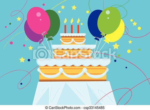 Big Birthday Cake With Balloons