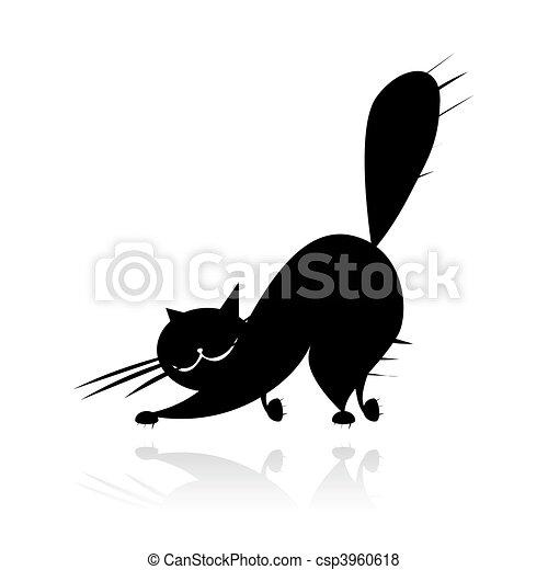 Big black cat silhouette - csp3960618